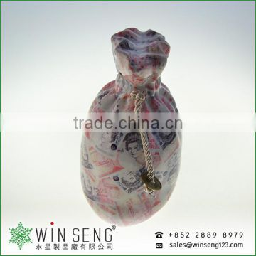 PROMOTION Christmas kids ceramic money bag shape saving bank