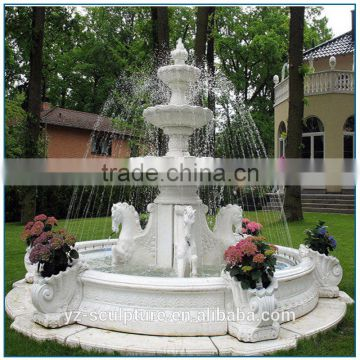 outdoor large stone water fountain with pool for sale