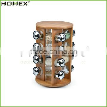 Round Bamboo Kitchen Spice Rack With 16 Jars/Homex_Factory