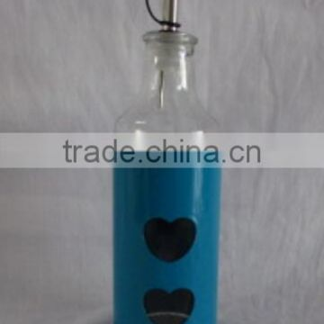 colored metal coated glass olive oil bottles wholesale with dispenser