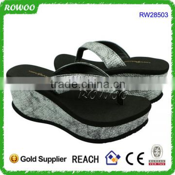 Lady and Girl's Black/White High Wedge Platform Flip Flops Thong Sandals/Slippers/Shoes