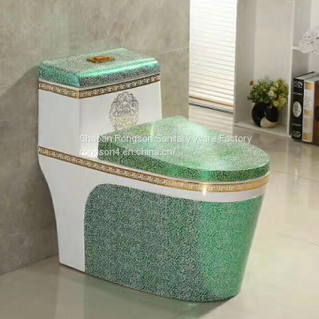 Bathroom new green decal ceramic one piece toilet