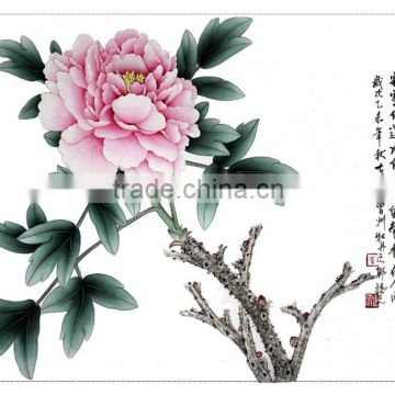 Good Luck Gift Peony Painting of Butterfly on the Pond for Rich