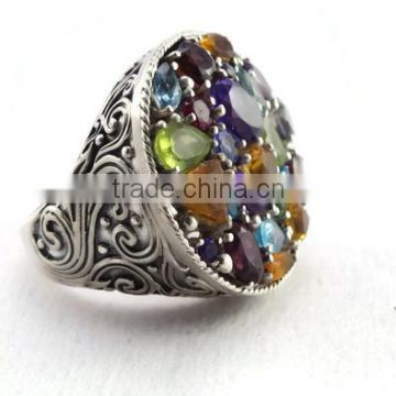 925 sterling silver gemstone multi ring