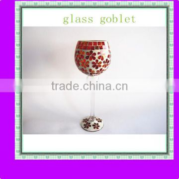 Red Flower Pattern Stained Handmade Tall Goblet Glass Mosaic Candle Holder