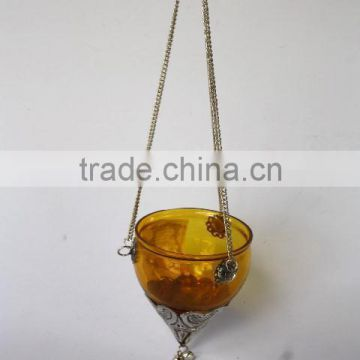 Yellow Glass hanging Votives Tea Light Holder with fitting in silver finish