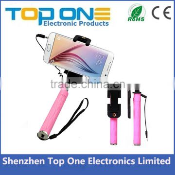 Wholesale colorful super mini size cable take pole selfie stick with cable for iphone and Android Smart phone