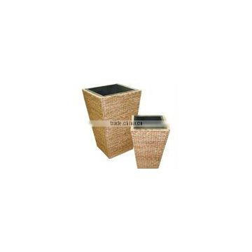 Vase Pyamid water hycinth and rattan frame wood liner by plastic or zin