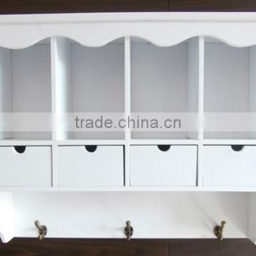 White color wooden wall shelf