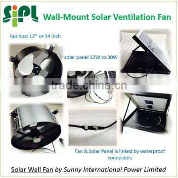 SUNNY FAN HVAC system 14 inch 20 watt home use wall mounted axial flow type Solar Heat Extractor Air Circulating Fan Blower