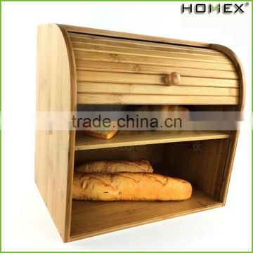 Bamboo large bread container bread keeper Homex BSCI/Factory