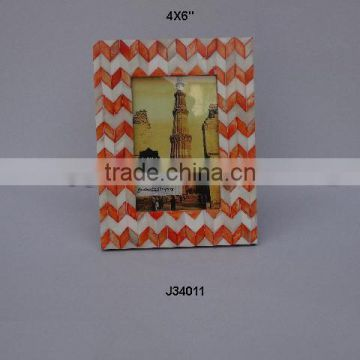 Bone mosaic orange chevron Photo frame Available in all photo Sizes
