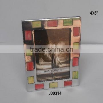 Aluminium Photo Frame with Mirror polish and rectangular green and red Bone mosaic
