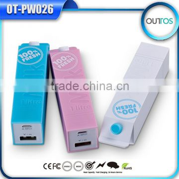 Portable milk 2200mah power bank for macbook pro /ipad mini
