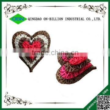 Colored decorative christmas wicker hearts