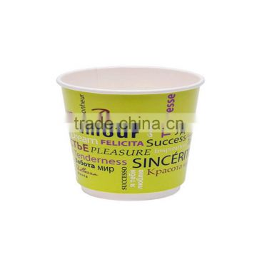 Custom printed disposable paper ice cream cups with clear lid
