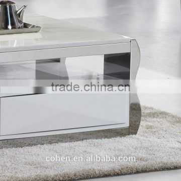 european design modern mdf stainless steel marble top coffee table