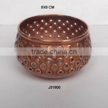 Bowl shaped Aluminium votive with hand cut patterns in copper finish available in other finish also