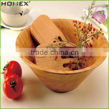 Food Large Bamboo Wooden Salad Bowl Set With Salad Hands/Homex_Factory
