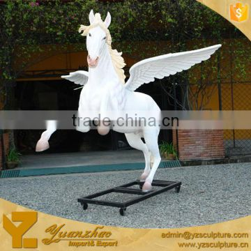 Christmas outdoor fiberglass life size horse with wings statue for decoration