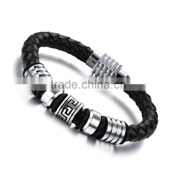 Mens Genuine Leather Bracelet with Magnetic Clasp Stainless Steel Beads