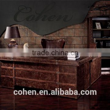 Cohen antique classic european furniture design genuine cowhide leather solid wooden office desk furniture for sale