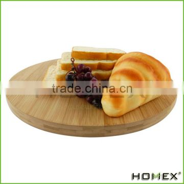 Trademark Innovations Round Bamboo Cheese Serving Tray with Hide-Away Utensil Set, Natural With Handle/Homex_Factory