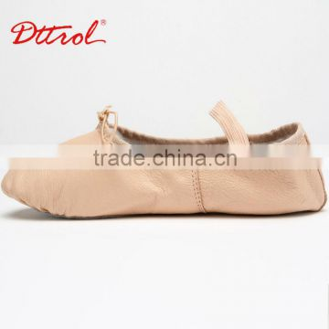 D005002 Dttrol full sole pig leather ballet shoes cheap wholesale slippers with belt