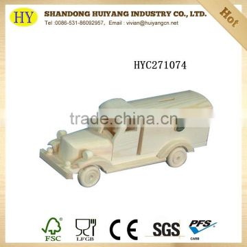 Children wood toy car and wooden toy box