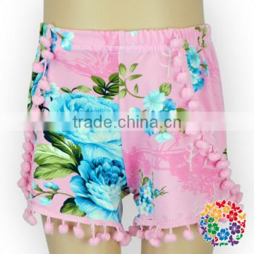 Wholesale Girls And Womens Pom Pom Shorts summer Fashion floral print shorts
