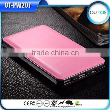 Leather case slim emergency mobile charger 12000mah