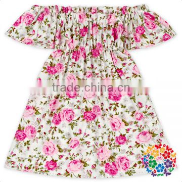 Toddler Girls Boutique Off Shoulder One Piece Dress Floral Remake Kids Pearl Dress