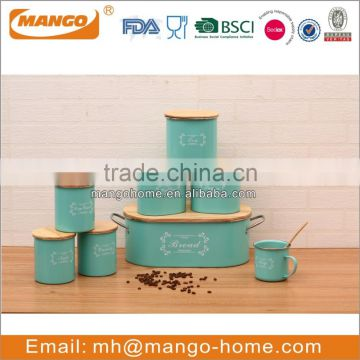 Powder coating tea sugar coffee canisters with wooden lid