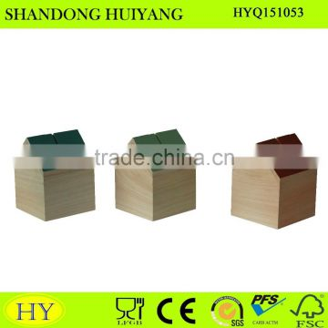 customized cheap house shaped wooden saving box for coins
