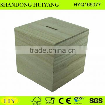 cheap natural unfinished wooden money saving box