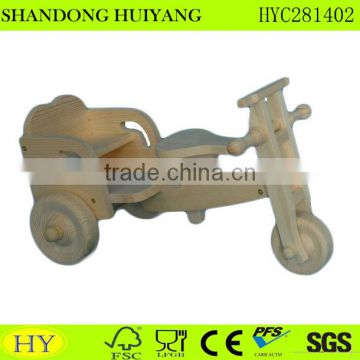 natural unfinished wooden toy tricycle wholesale