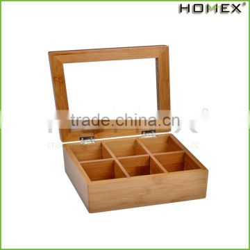 Bamboo 6-Section Tea Storage Box with Hinged Clear Lid /Homex_Factory