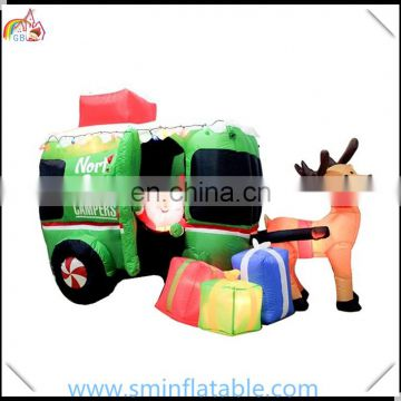 Hot sell christmas inflatable train, inflatable santa decor for christmas promotion with santa claus from china manufacturer