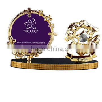"Good Quality 24K gold plated Zodiac Pisces 3x3"" Photo Frame with crystals from swarovski"