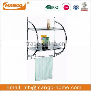 Dual Tier Chrome Plating Metal Wash Basin Storage Rack