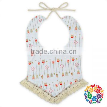 Wholesale Adjustable Print Traning Drool Bibs Custom Tassel Bandana Bibs Baby