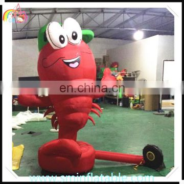 Customized vivid inflatable shrimp model, advertising inflatable prawn model , red shrimp with cap for outdoor event