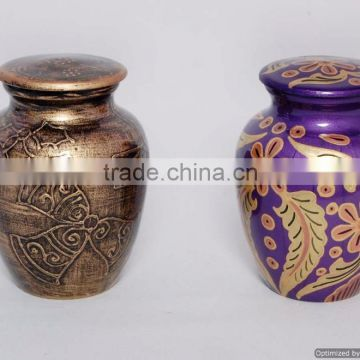 small coloured fancy metal urns