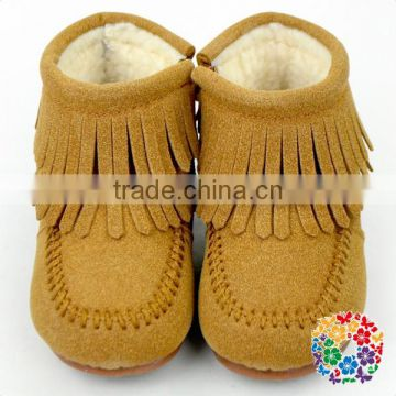 Baby Boys and Girls Warm Winter Snow Boots Add Cashmere Tassel Trimmed Boots Outdoor