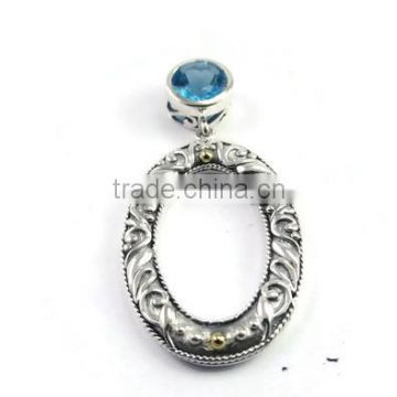 925 sterling silver swiss blue topaz gemstone oval slide pendant with 18k gold accents