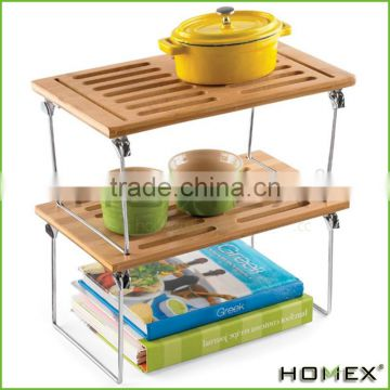 Bamboo 2 layer display shelf for kitchen Homex-BSCI Factory