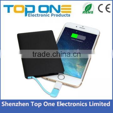 2016 trending product portable power bank 4000mah, credit card power bank with built in cable, travel power bank