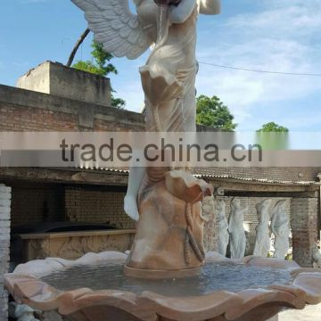 norton hand carved large marble garden angel fountain with horse NTMF-S508S