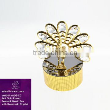 Customized Special 24K Gold Plated Peacock Music Box with swarovski crystals