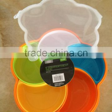 Plastic colorful divided snack and candy storage box